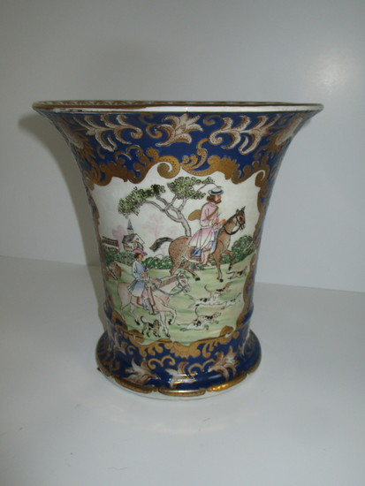 """Lovely Oriental Style Vase - Equestrian Scene - Chinese Imports   8"""""""
