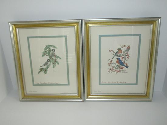 "Pair Anne Worsham Richardson Signed Bird Prints - Framed & Matted   12"" x 10"""