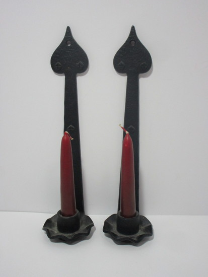 Pair Early Cast Iron Wall Sconces