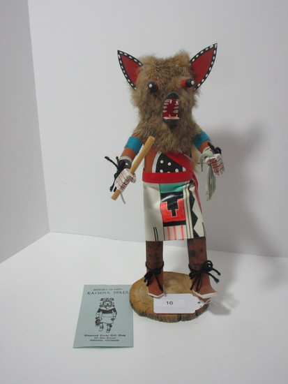 """Kachina Doll - Rex Fox.   Approx. 14""""- Signed Ronald in Largo"""