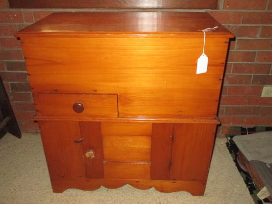 Pine Mill Bin w/Double Hinged Lid.  One Board, Small Drawer & Lower Door