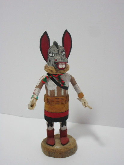 """Kachina Doll - Donkey by Roxie Pela - Hopi   Approx. 7 5/8"""".  Item in right hand"""