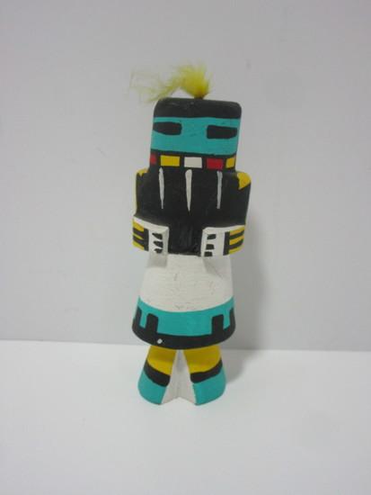 "Hand Carved Kachina Doll Figure w/Bright Blue Headdress.  7"""