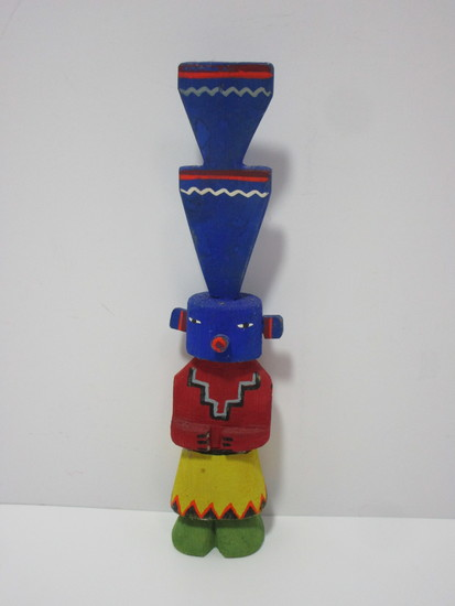 """Hand Carved Kachina Doll Figure w/Yellow Head Feather.  4 1/2"""""""