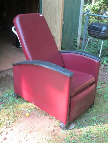 Burgundy Upholstered Adjustable Hospital Chair.  Indentations in Seat & Minor Wear