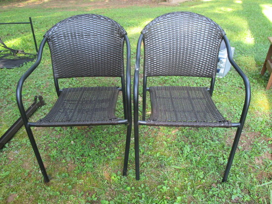 Pair Patio Chairs w/Plastic Woven Seats