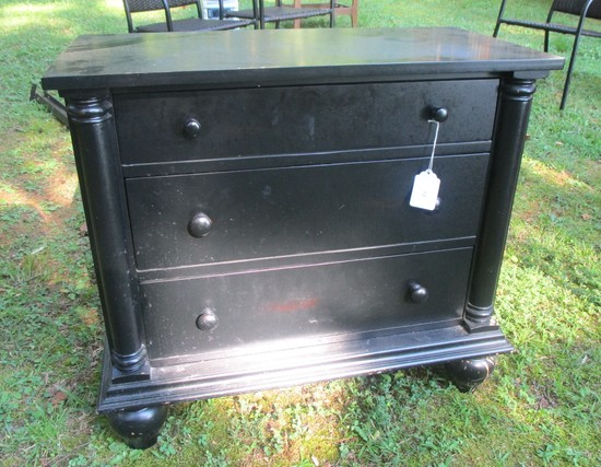 "Black Finish 3 Drawer Night Stand  29"" T x 32"" W x 16"" D"