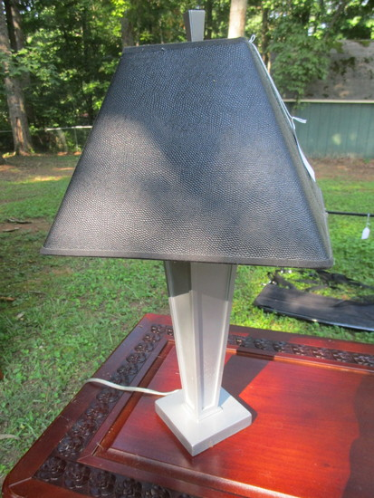 "Contemporary Lamp w/Black Shade  23 1/2""   Some Cracking on Paint"