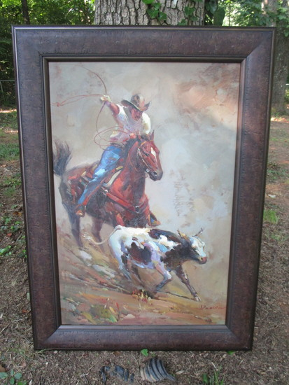 "Artist Signed (Daosen?) Oil on Canvas of Western Cowboy Roping a Cow  Framed 44"" x 32"""