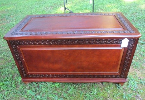 "Pine Chest w/Beautiful Floral Design  22"" T x 40"" W x 21"" D"