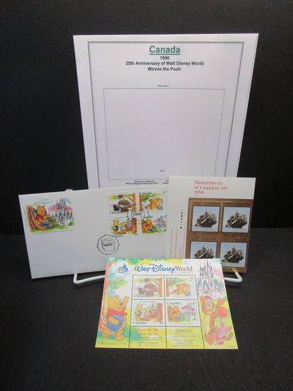 Winnie Pooh Canada Souvenir Sheet & 1st Day of Issue