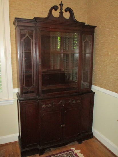 Beautiful Mahogany Breakfront China Cabinet with Arched Pediment