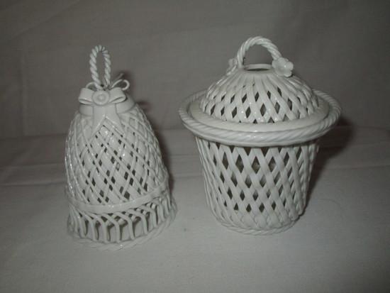 """Lot - Porcelain Bell & Covered Jar w/Pierced Design -  Bell 4"""" & Jar 5"""""""