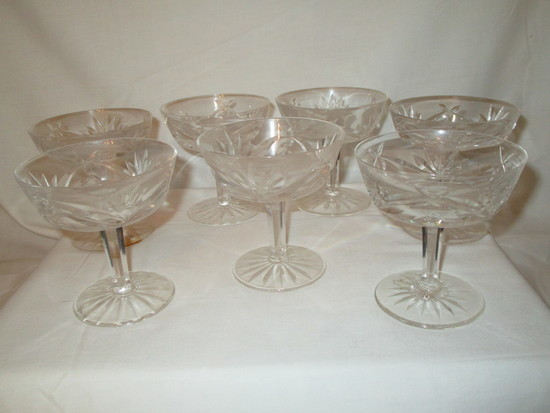 Lot - 7 Waterford Tall Footed Sherbets - Rare Ashling Pattern