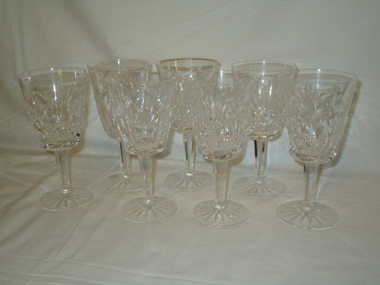Lot - 7 Waterford Crystal Wine Glasses - Rare Ashling Pattern