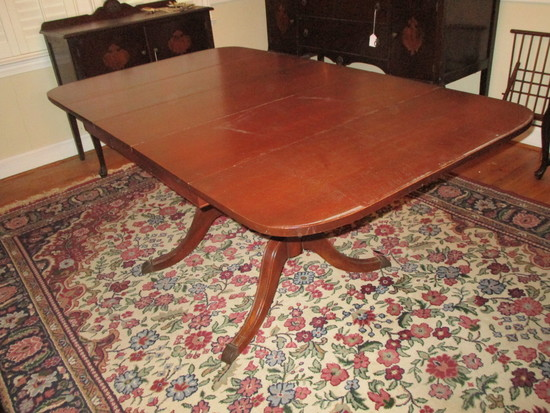 Mahogany Duncan Phyfe Style Double Pedestal Drop Leaf Dining Table