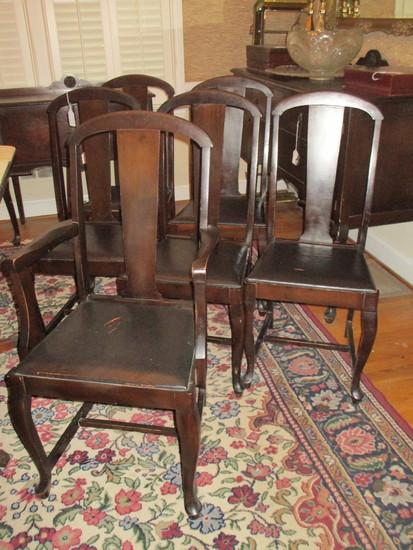 Lot- Mahogany Slat Back Dining Chairs with Vinyl Upholstered Seats