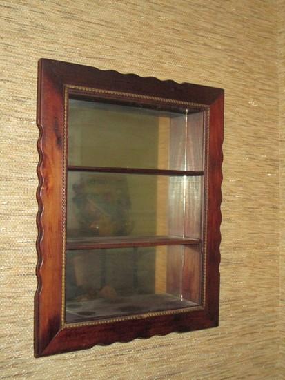 Mahogany Mirrored Back Hanging What Not Shelf