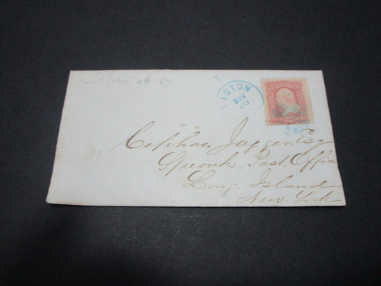 Scott 65 - Post Civil War Cover & Letter Dated November 25, 1867