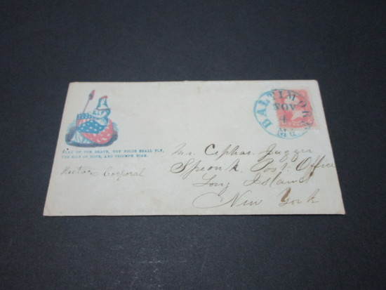Scott 64 - Patriotic Cover. Civil War Envelope Letter From Union Soldier