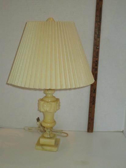 "19"" Alabaster Table Lamp w/ Shade - few nicks"