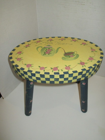 Hand Painted Tea Time Design Foot Stool