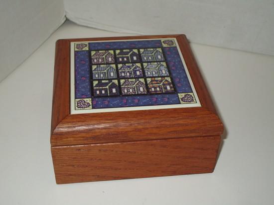 """Oak Trinket Box w/ Tile Insert Lid - 2.5"""" X 5.5"""""""