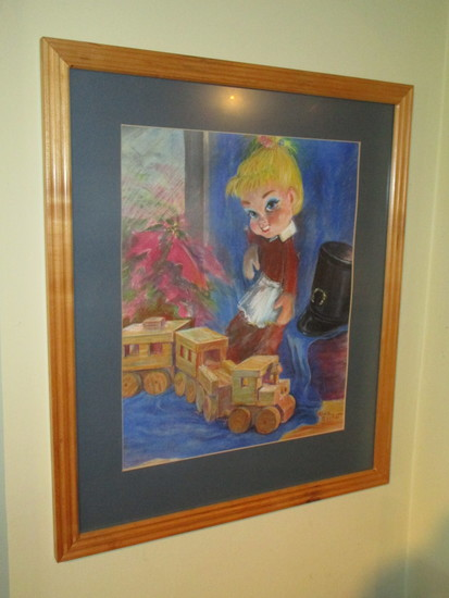 Framed Crayon Art for Childs Room - Toy Scene signed Alice Gerhart
