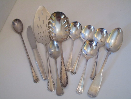 Lot Misc Silver-plate & Stainless Flatware & Serving Pieces