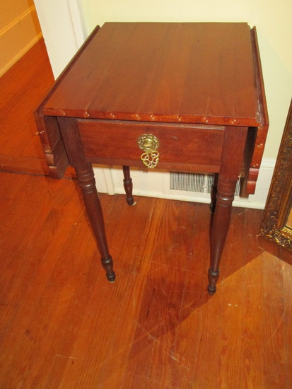 """Pine Drop Leaf Accent Table w/ One Drawer - 27 5/8"""" X 16"""" X 18 1/4"""""""