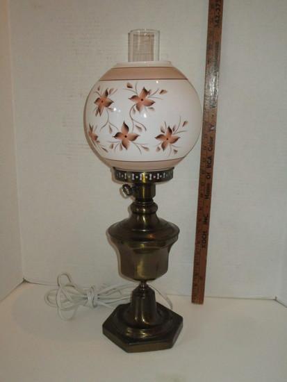 Bronze Tone Lamp w/ Milk Glass Globe (hand Painted) & Glass Chimney