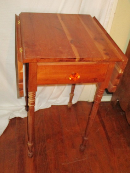 Pine One Drawer Drop Leaf Accent Table -