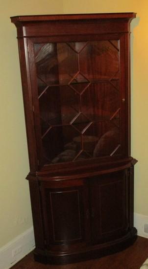 Mahogany Corner Cabinet w/ Glass Shelves & Fret Work on Glass Paned Door