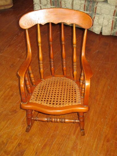 Childs Vintage Rocker - Oak Spindle Back w/ Cane Seat - Sweet Piece!