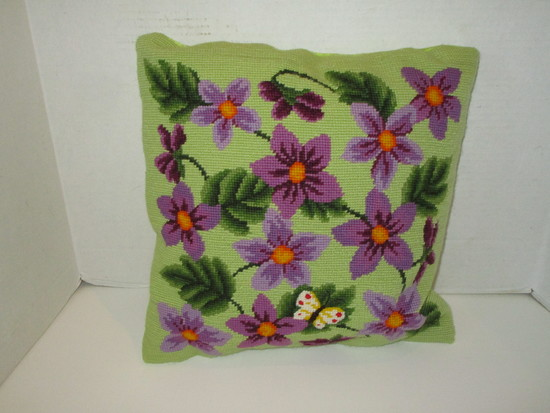 """Needlepoint Floral Design Accent Pillow - 14"""" Square"""