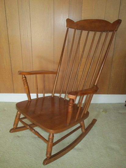 Oak Spindle Back Rocker.  One Spindle Needs Repair