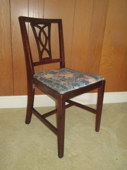 Mahogany Pierced Slat Back Side Chair w/Floral Upholstered Seat.