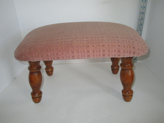 """Upholstered Foot Stool w/Wood Turned Legs  9"""" x 16"""" x 10"""""""
