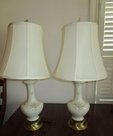 "Pair 34 1/2"" Semi Porcelain Lamps w/Wheat Design & Shades"