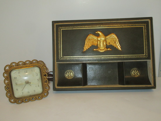Lot - Swank Desk Organizer & Syroco Electric Clock