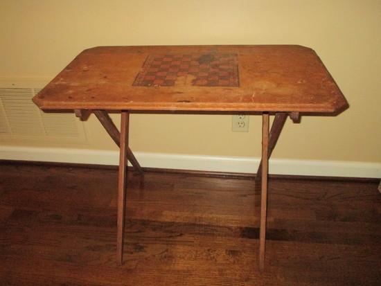 Folding Wooden Table w/Cheeseboard Platter on Top.