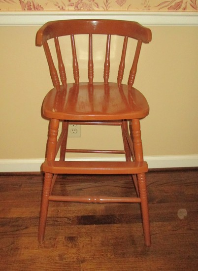 Child's Wooden Highchair - No tray, some loss on finish