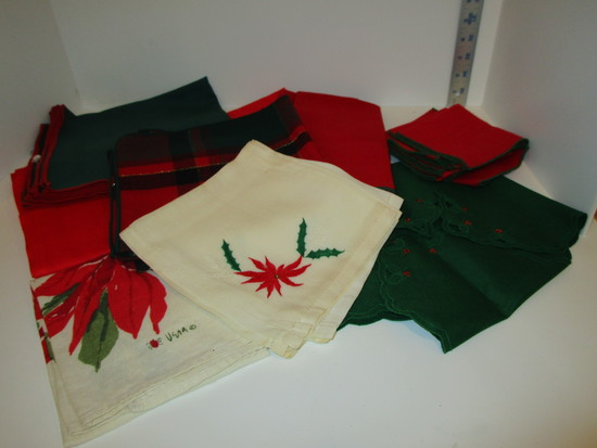 Lot - Vintage Christmas Linens - Some with stains