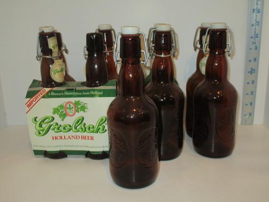 Lot - 9 Grolsch Lager Beer Bottles