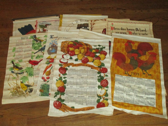 Lot - Misc. Vintage Fabric Calendars & Flags