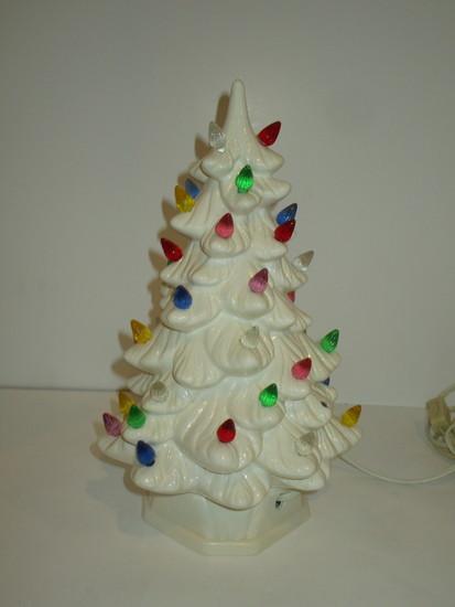 "White Ceramic Christmas Tree 13""  Missing few bulbs"