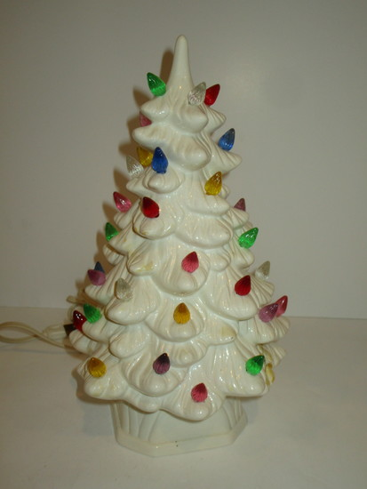 "White Ceramic Christmas Tree 13""  Missing few bulbs, repaired"