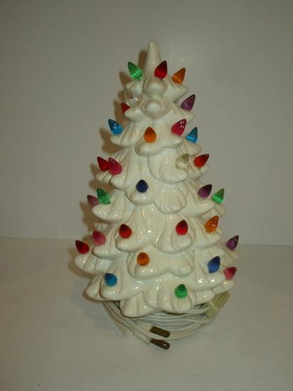 """White Ceramic Christmas Tree 11"""""""