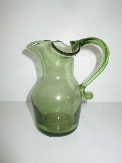 "Blown Glass 6"" Green Pitcher w/Applied Handle"