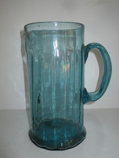 """Blown Glass 9"""" Blue Pitcher w/Stretched Glass Applied Handle"""